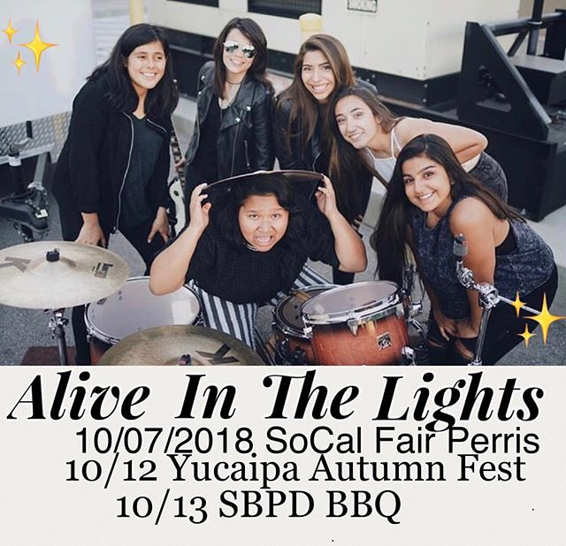 Will see you at one of our shows✨  #aitl #allgirlrockband #sanbernardino #inlandempire #fender #girlpower #talentmusician #fhfshow