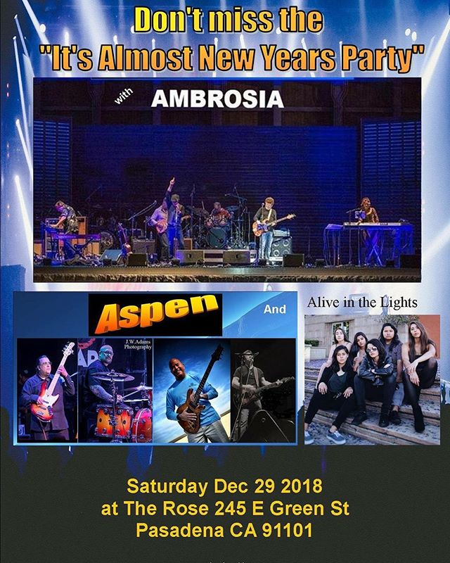 Last big show of 2018 is happening tonight!!! Get your tickets and come party with us, let's end this year with a killer show!!! ✨ #ambrosia #aspen #therose #pasadena #endoftheyearshow #allgirlbands #marshallamps #gibsonguitars #fenderbass #yamaha #shure #localartists #labands