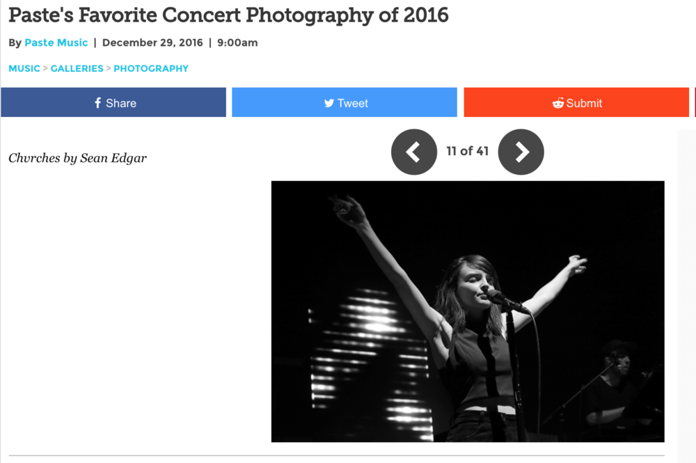 A typical photo gallery on  Paste Magazine , featuring a picture I took of Chvrches vocalist Lauren Mayberry.