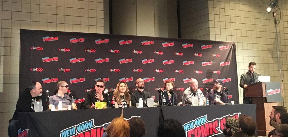 A New York Comic Con panel with (from right to left): Gerry Duggan, Joe Casey, Jeff Rougvie, Jen Bartel, Kieron Gillen, Stephanie Hans, Jason Aaron, and Daniel Warren Johnson.  Photo courtesy The Beat/Heidi MacDonald