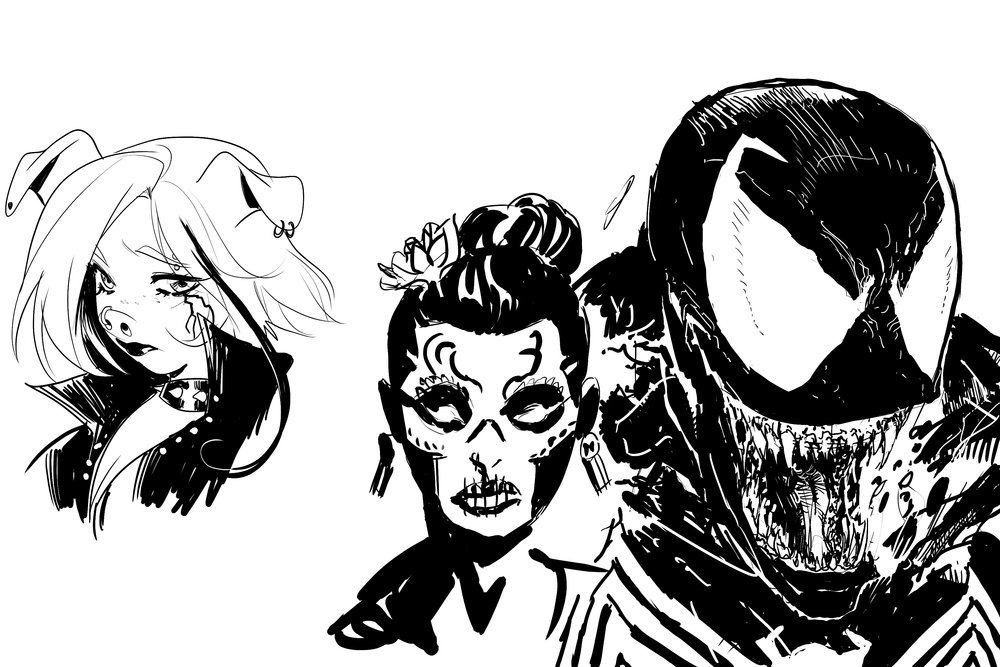 Final Art Jam sketch from Mirka Andolfo (drawing Leslie from  Unnatural ), Wes Craig (drawing Maria from  Deadly Class ), and Todd McFarlane (drawing Venom)