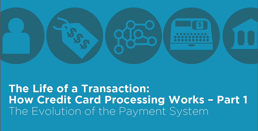 A white paper graphic explaining credit card processing