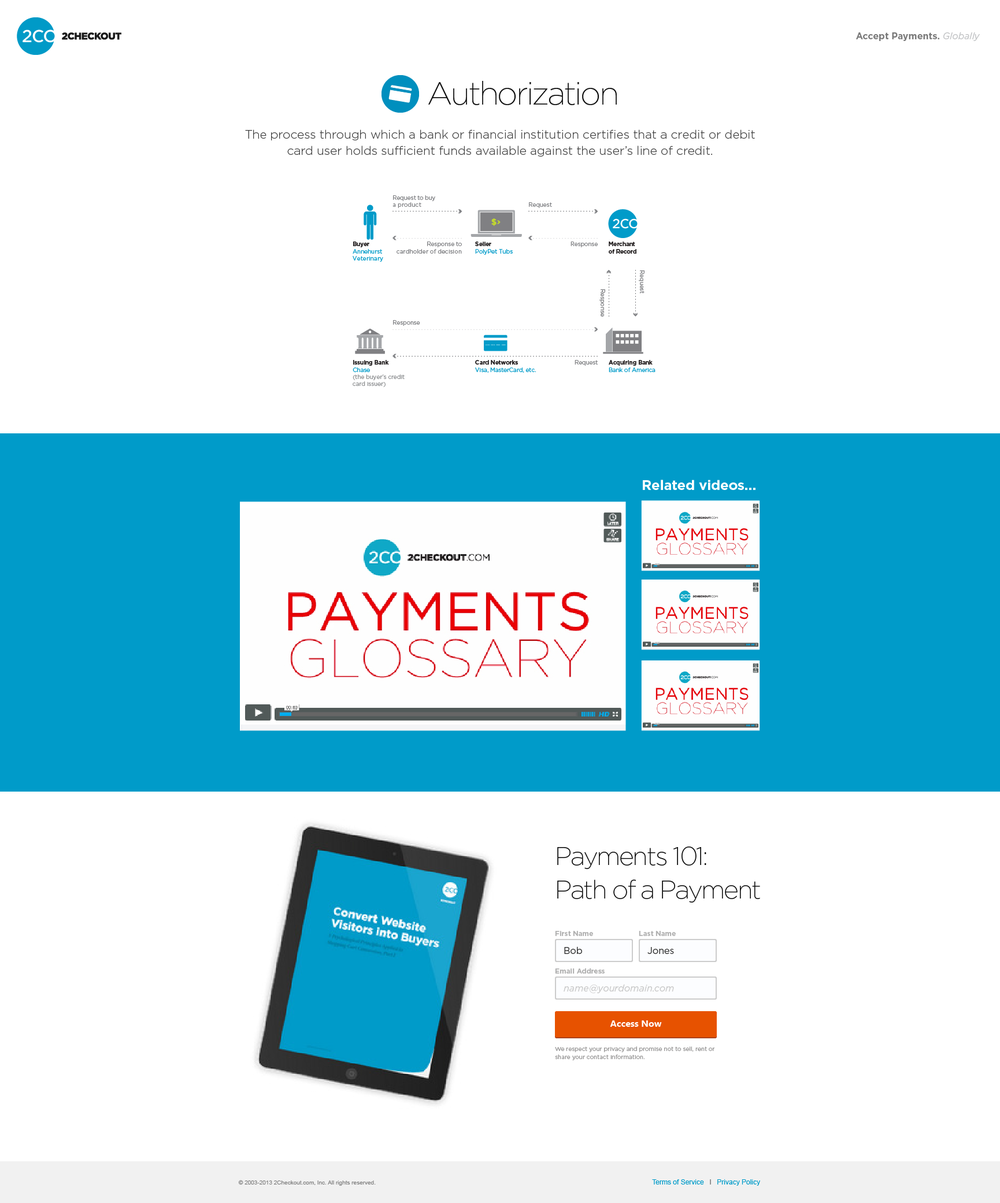 Graphics advertising our payments glossary, a video series that explains the language and ecosystem of online payments