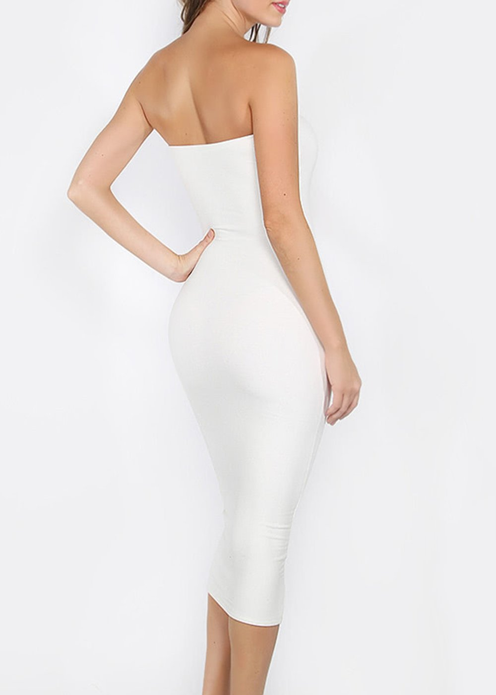 aa0dee96e5f Kim - White Fatal Strapless Tube Bandeau Dress — FROCK LOS ANGELES