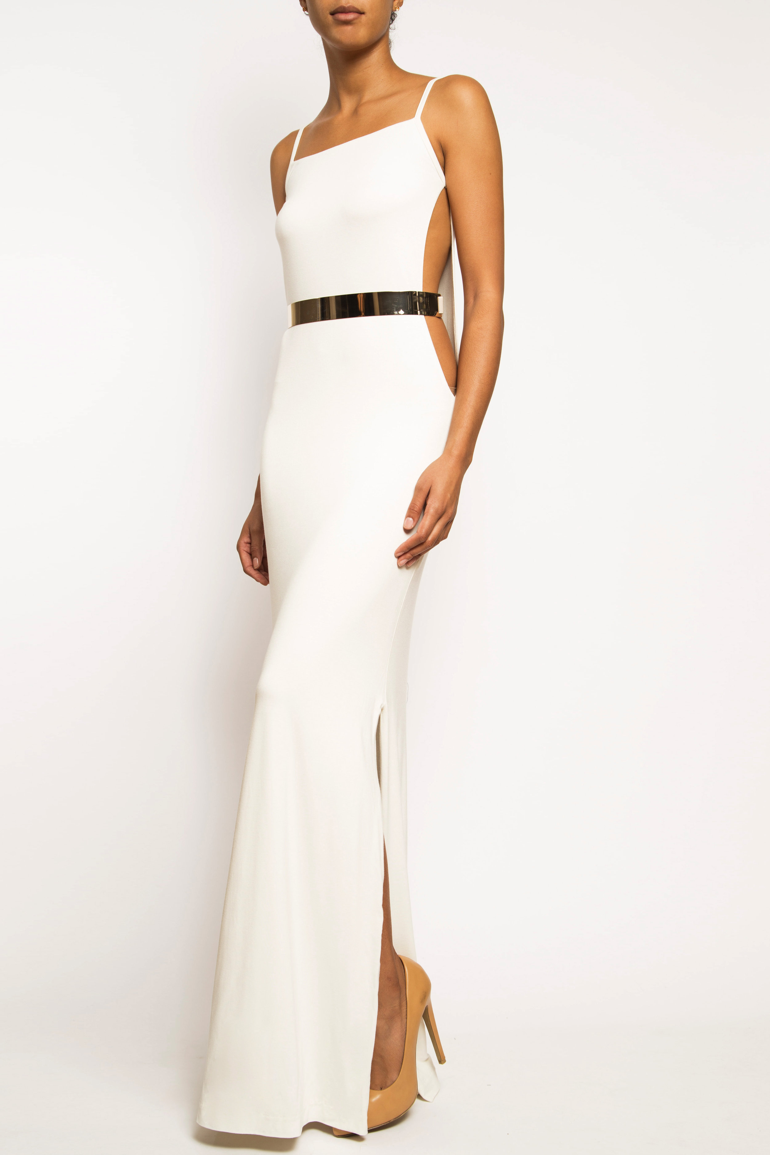8932c512e360 Christina - White Long Side Cutout Gold Plate Belted Dual Slit Dress ...