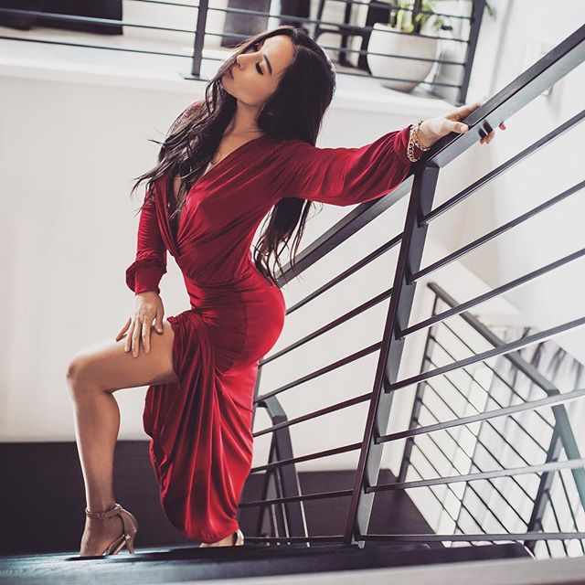 @victoriatik wearing our Angie dress with custom long sleeves. . . . . . . . . #onlineshopping #beauty #makeupoftheday #ootd #reddress #sale #lookamillion #ladyinred #fashion #fashionista #fashioninsta #fblogger #ootd #style #frockla #lookbook #prom #girl #girls #richwellcorreastudios
