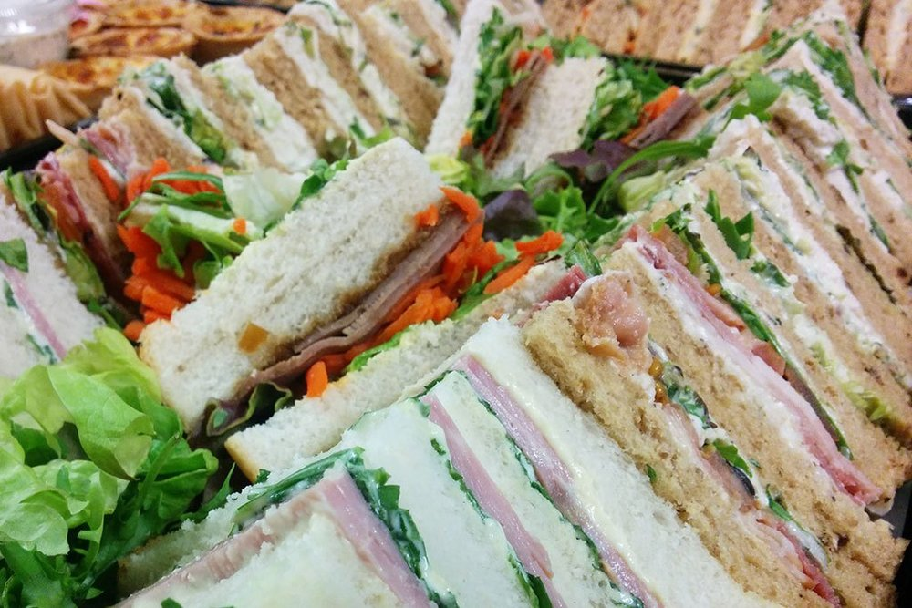 Sandwich Boxes - A tasty range of sandwiches, baguettes and mini buns ideal for the office, picnic, or party.Vegetarian and vegan options.