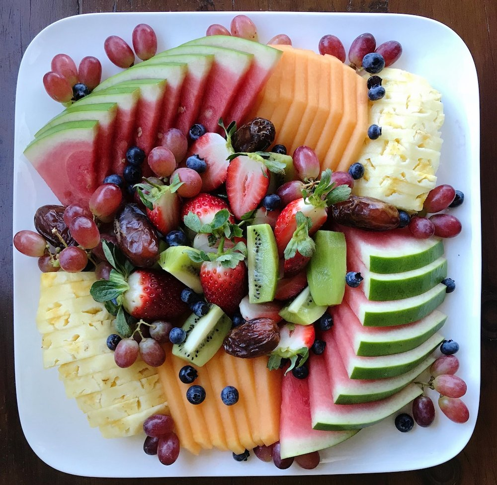 Fresh Fruit Platter - The perennial favourite!A selection of seasonal fruit studded with dates and dried fruitMedium, serves 6-8 $40Large, serves 8-12 $70Days to order - 2