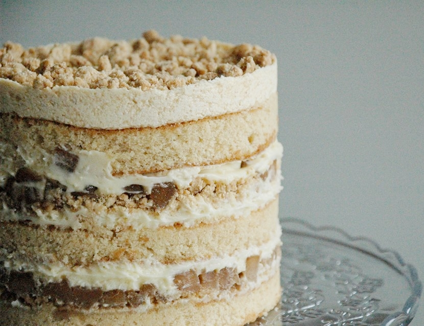 "Apple Pie layer cake - Three layers of apple-soaked buttermilk sponge, creamy vanilla filling, crunchy pie crumb, cinnamon-infused apple finished with pie crumb icing.5""-6""/13-15cm tall10-12 serves$75"