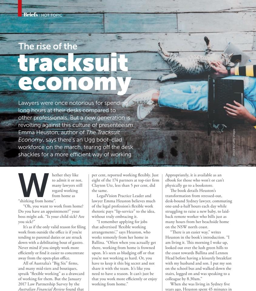 The Rise of the Tracksuit Economy, Law Society Journal, July 2018 by Kate Allman. -