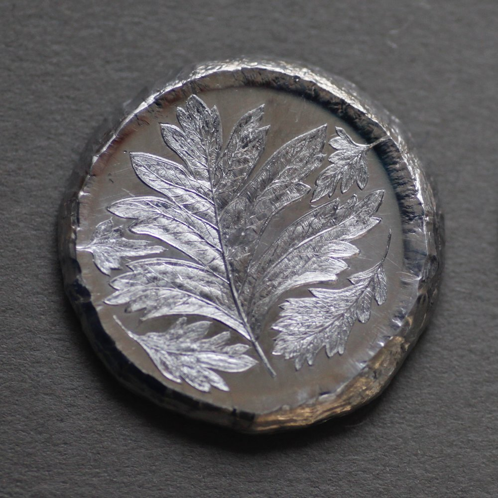 Malcolm Appleby, Hawthorn Leaf Button, struck silver