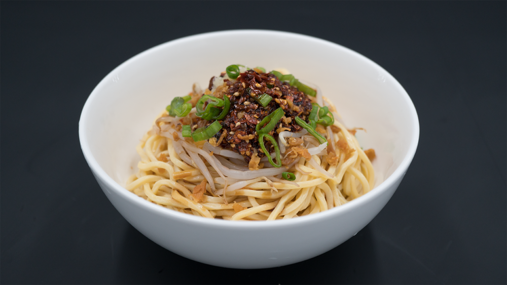 SPICY COLD NOODLES凉面 - Bean sprouts, turnips, peppercorn oil, black vinegar, Bang sauces & scallions (vegetarian)