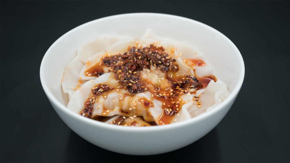 CHILI OIL DUMPLINGS红油水饺 - Pork-filled, Bang sauces