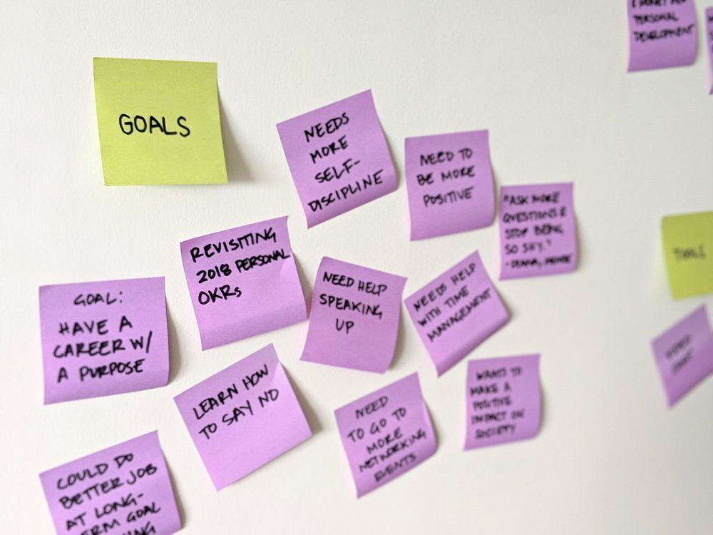 Close-up of goals participants mentioned in the survey