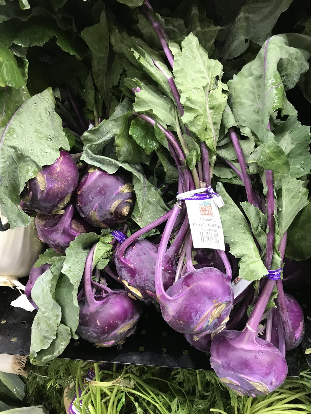 Delicious Kohlrabi! Peel, slice and eat like that or add to salads. This is one of my favorite veggies. It's kind of sweet!