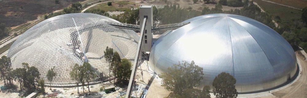113m Diameter limestone storage domes, South Africa