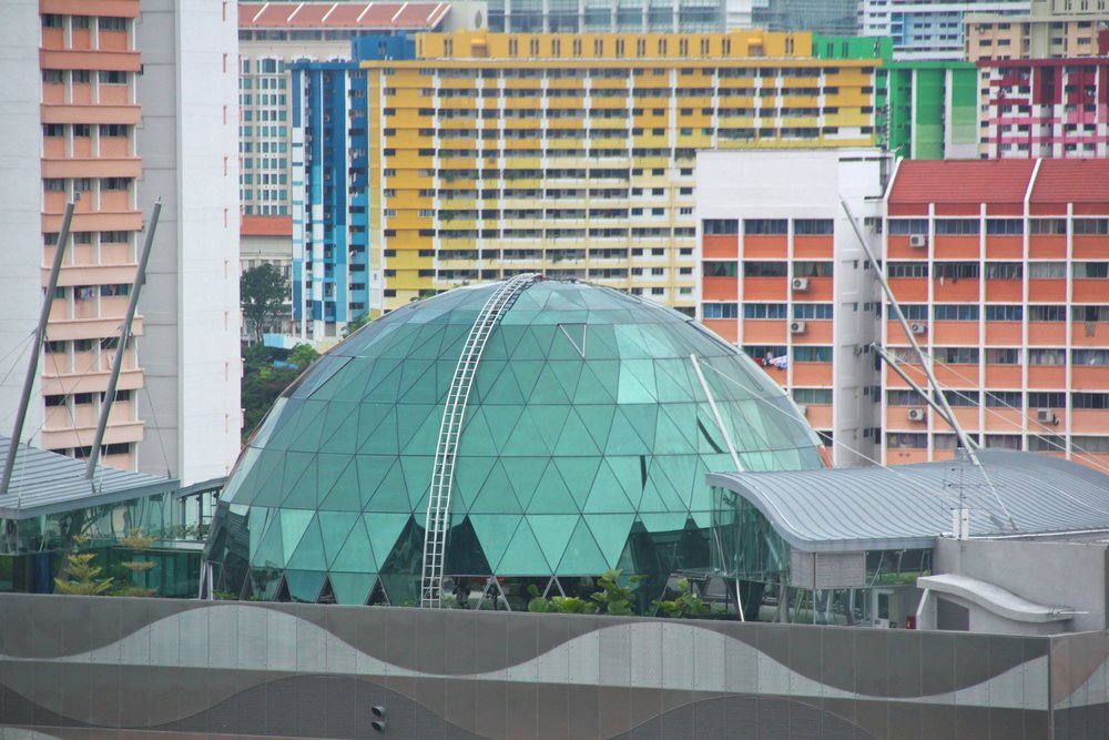 The dome, with full glass cladding and the maintenance ladder in place.