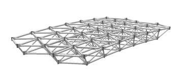 Las geometrías de doble capa con diagonales se utilizan cuando haya cargas amplias o concentradas, soportes de columna, o para grandes extensiones.