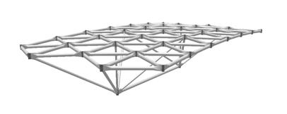 Las geometrías con nervaduras también se usan en domos. Son fáciles de instalar porque casi todo el trabajo de ensamble se puede hacer en el piso, y ser izado.
