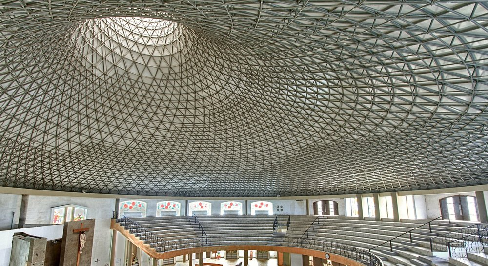 Blessedly artistic geometric patterns ascend above a tiered sanctuary at San Juan de los Lagos in Monterrey.