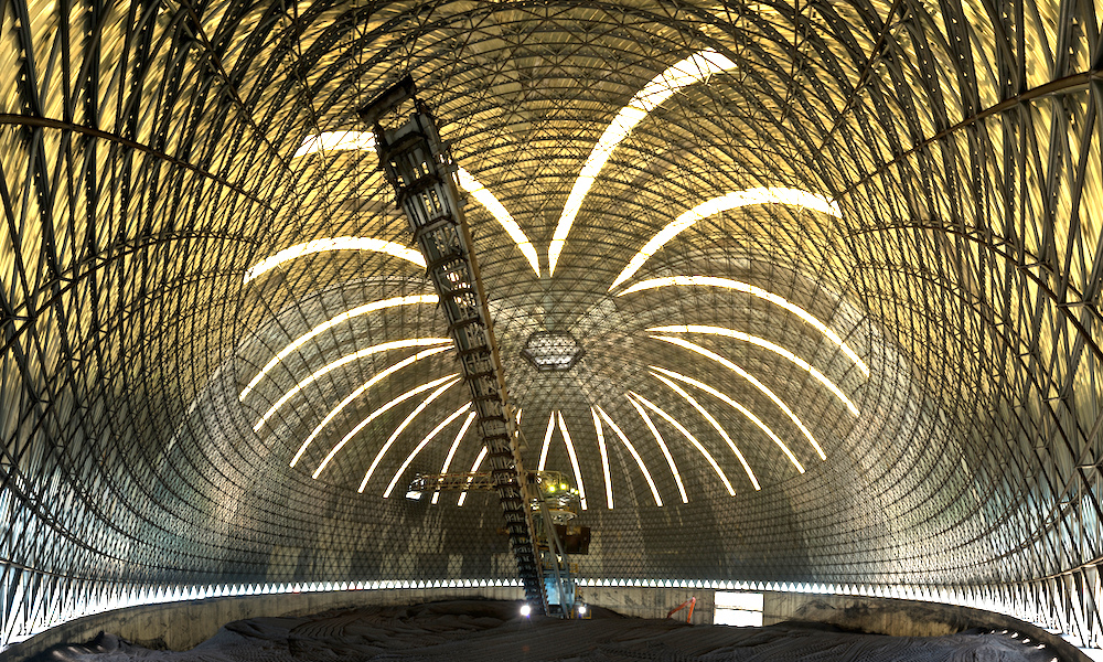 Finished dome as ancillary port infrastructure supporting imports and exports of materials