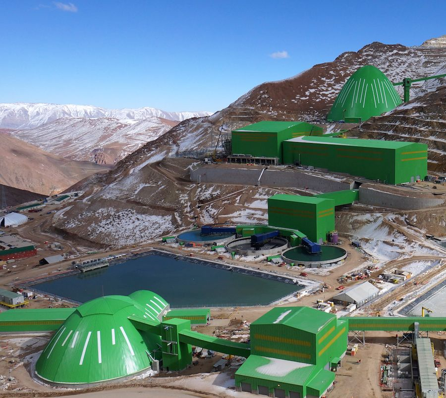 The new Caserones mine has a 145m dome for the stockpile and a 60m dome for concentrate