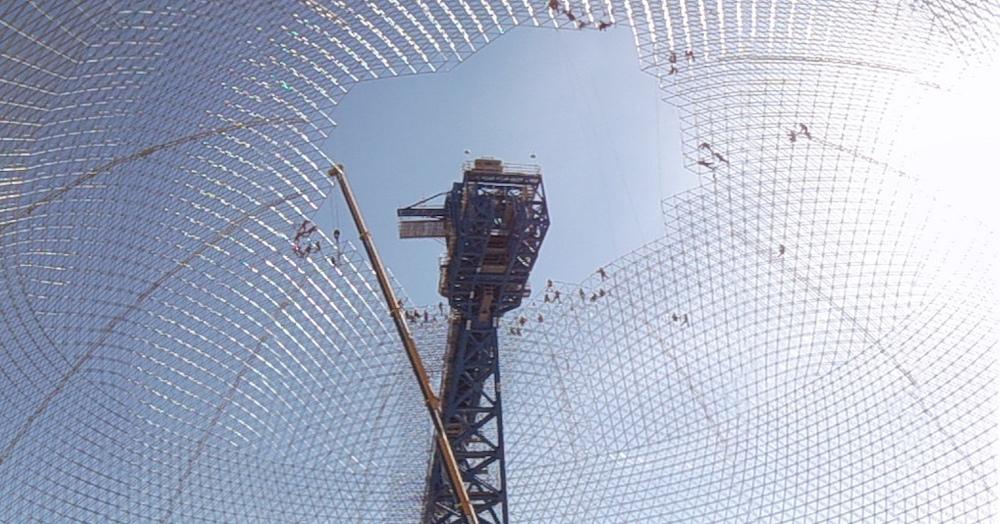 Sierra Gorda durante su construcción.
