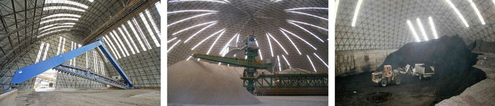 With industrial and bulk storage projects, domes and barrel vaults are often built directly over equipment and machinery.