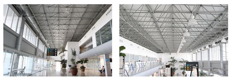 Cuernavaca Airport terminals take passengers to their flights.