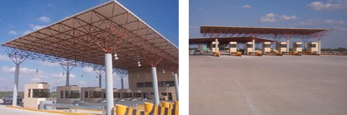 A tollbooth in Laredo is designed to accommodate interstate and commuter traffic.