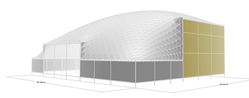 The Qatar Freedome is rectangular in shape and sits on a concrete perimeter that varies in elevation.