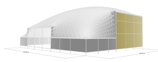 El Freedome en Qatar es de forma rectangular y está sobre un perímetro de concreto con elevación variable