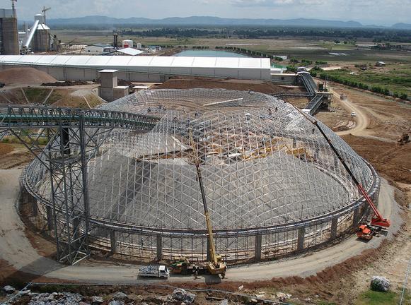 Dome installation in progress, Cambodia