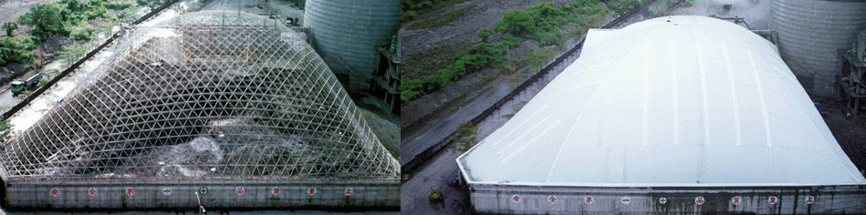 Exterior view, before and after.