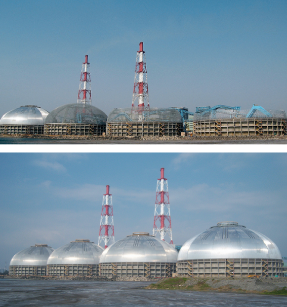 Hsin-Ta Station, Tai Power, Taiwan — four circular coal storage domes before and after installation.