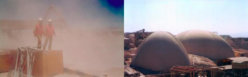 Un dueto de domos construidos para la Empresa Minera de Mantos Blancos.