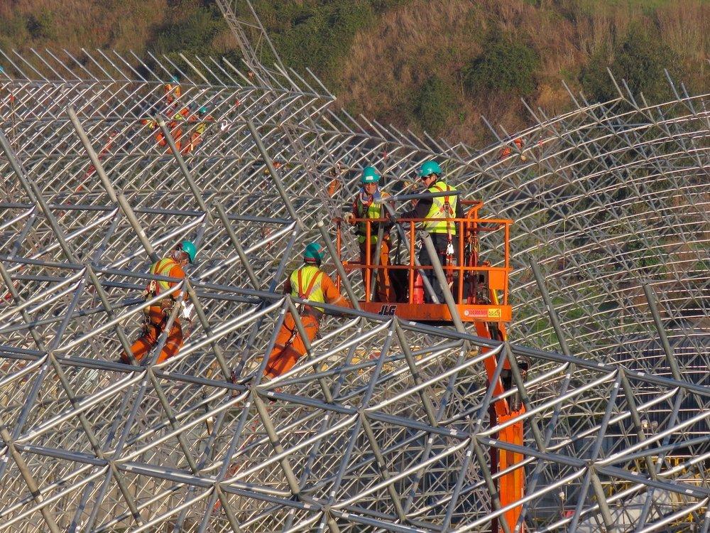 Installation crew on structure