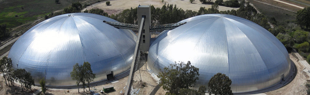 Twin domes for Lafarge cover limestone stockpiles in South Africa. Both span an impressive 113m - longer than a football field.