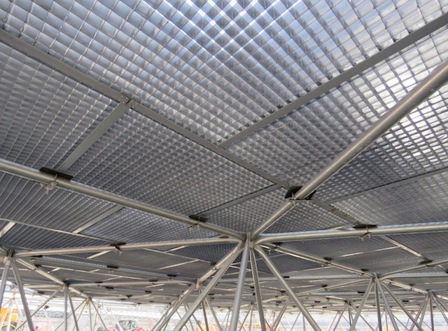 Assembled on the ground, the space frame will support the dome's ventilation system