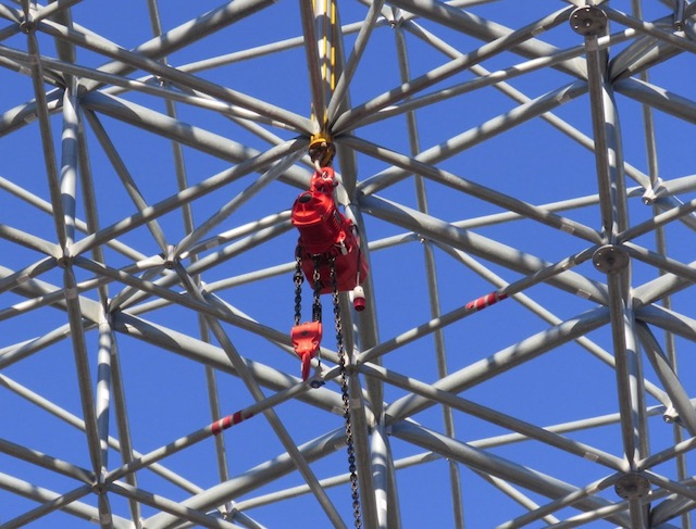 One of 12 electric hoisting supports were placed on the bottom chord of the dome - 5 ton capacity for each