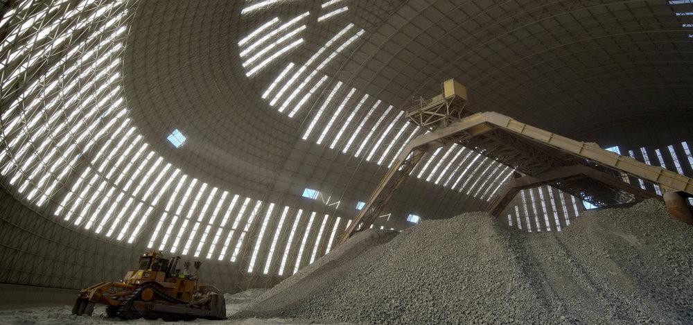 Vista interior del claro de 120m sin columnas.