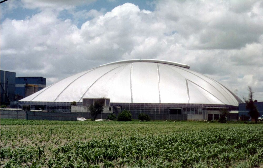 Exterior: 112m x 112m square-plan auto parts and brake manufacturing dome