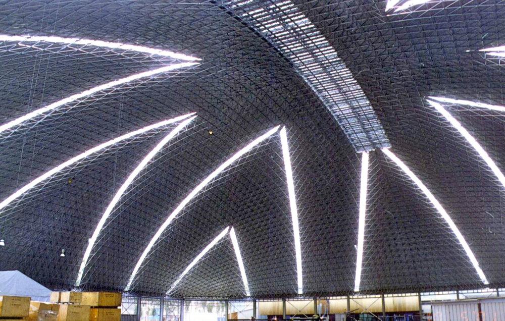 Interior: 112m x 112m square-plan auto parts and brake manufacturing dome