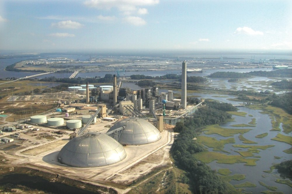 Jacksonville Electric Authority's 2 x 122m internally clad petroleum coke storage domes, Florida, USA.