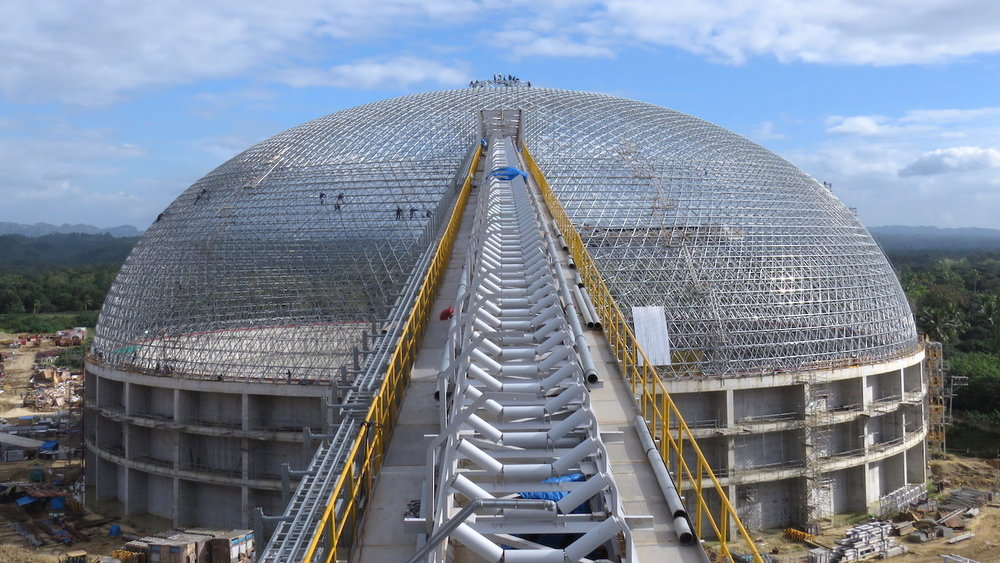 Therma Visayas Energy 126m dome during construction. Toledo, Philippines.