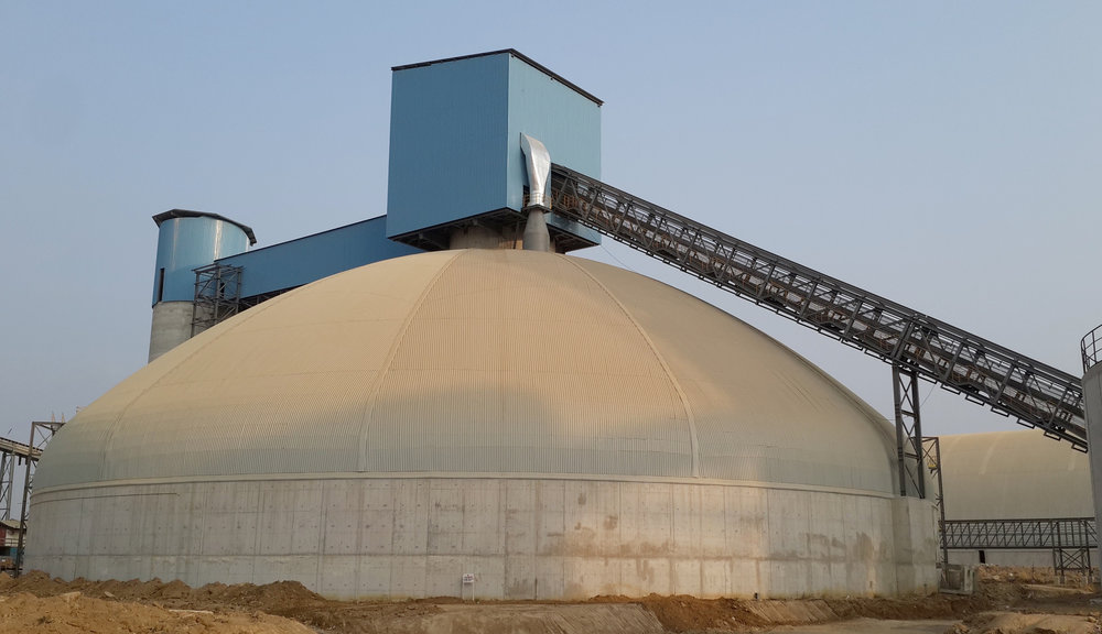 Clinker storage dome for Edo Cement in Nigeria.