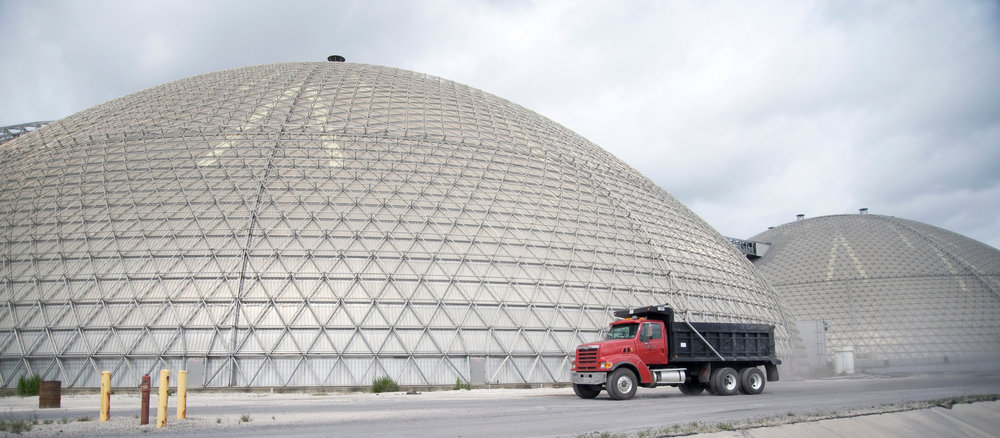 Jacksonville Electric Authority 2x122m petcoke storage domes.