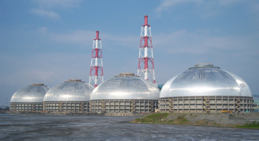 4 x 126m Tai Power coal domes in Kaohsiung, Taiwan.