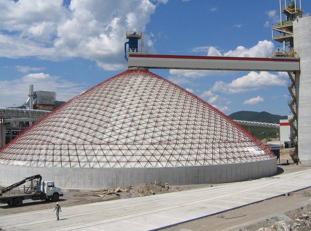 70m internally-clad conical coal stockpile, Cerritos, Mexico