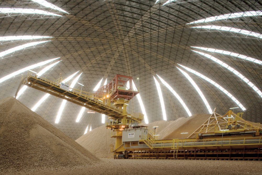 Interior view of ring stockpile domes in Merida